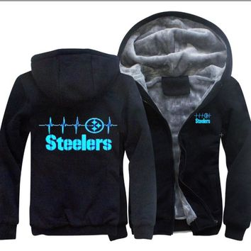Hot Sale Thicken Hoodie Pittsburgh Steelers Fan   Noctilucent Printing Warm Sweatshirt Coat Zipper Unisex Jacket Costume