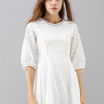 Blissful Eyelet Embroidered Dress in White