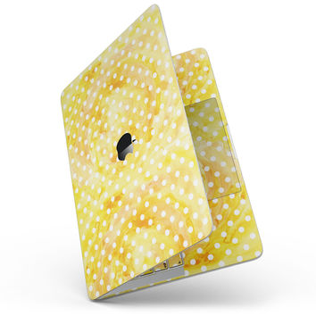 White Polka Dots over Yellow Watercolor - MacBook Pro without Touch Bar Skin Kit