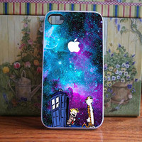 calvin and hobbes tardis dr who nebula galaxy for iPhone and Samsung galaxy case (available for iPhone 6 case)