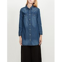 Classic Loose Fit Chambray Jean Denim Shirt Dress with Pocket (CLEARANCE) (CLEARANCE)