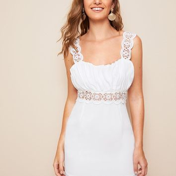 Solid Guipure Lace Insert Draped Detail Dress