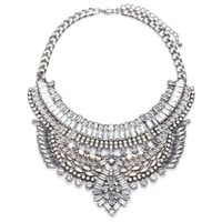 Chunky Crystal Silver Chain Pendant Bib Collar Necklace