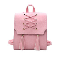 Tassel Brands Women School bag Travel Leather Backpacks For Teenage Vintage
