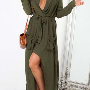 Drawstring Waist Long Sleeve Double Pocket Maxi Dress