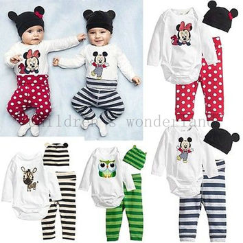2016 summer 3Pcs (Long-sleeved Romper+hat+pants) Baby Boys clothing set Cartoon owl Mickey mice printed Baby Girls Clothes Suit