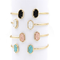 2016 New Cute Oval Quartze Copper Bangles White and Blue Turquoise Stone Resin Druzy Cuff Bracelets for Women