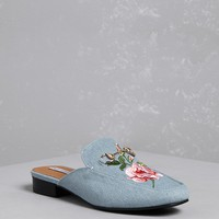 Floral Embroidered Loafer Mules