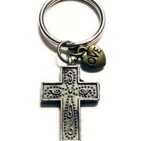 Bronze Cross Keychain, Religious Keychain, Cross Gifts, Unique Birthday Gift, Stocking Stuffer, Cross Key Chain