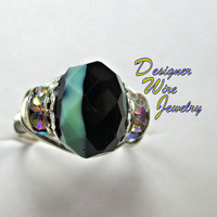 DWJ0232 Beautiful Mint Chocolate Chip Faceted Czech Glass Silver Plated Wire Wrap Ring All Sizes