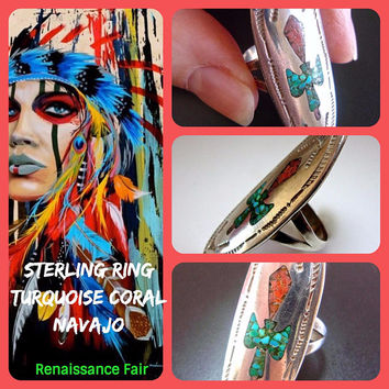Turquoise Coral Sterling Navajo Old Pawn Ring, Cea Brown, Inlay, Vintage