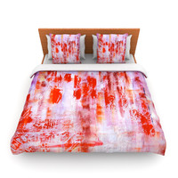 "Malia Shields ""Painted Cityscape"" Pink Red Lightweight Duvet Cover"