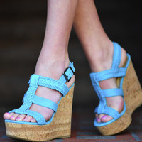 Teal Me A Secret Wedges: Suede | Hope's