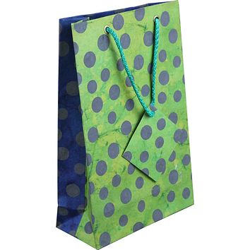 Handcrafted Recycled Paper Polka Dot Gift Bags w/ Gift Tag Set of 6 Green Blue