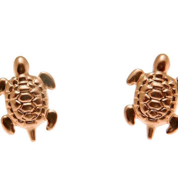 SOLID 14K ROSE GOLD HAWAIIAN SEA TURTLE HONU STUD POST EARRINGS SMALL 8MM