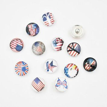 ac spbest 18MM Glass USA Independence Day Flag Snap Button Charm DIY Snap Jewelry Accessories(Mixed 50pcs or Single 20pcs)