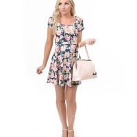 Navy Blue & Pink Floral Cut Out Knit Flare Dress