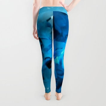 Light blue summer leggings lady's leggings Active wear Casual wear Stretchable leggings Abstract waves