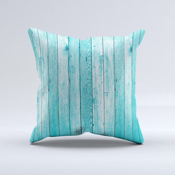 Trendy Blue Abstract Wood Planks Ink-Fuzed Decorative Throw Pillow