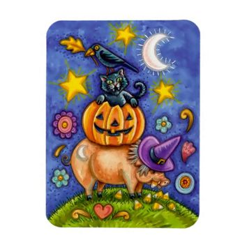 Halloween Theme Magnet with Bird Cat Pumpkin & Pig