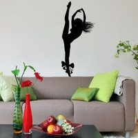 Girl Dancing Silhouette Hair Wall Vinyl Decals Art Sticker Home Modern Stylish Interior Decor for Any Room Smooth and Flat Surfaces Housewares Murals Design Window Graphic Dance Studio Bedroom Living Room (4565)