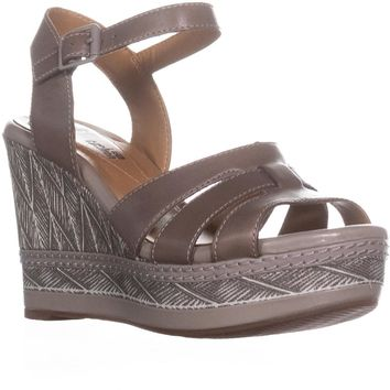 Clarks Zia Noble Ankle Strap Wedge Sandals, Sage, 6.5 US