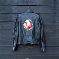 Leather Motorcycle Jacket Men's 42 M Large Native American Indian Chief Embroidered Jacket, Black Leather Jacket, Belted Moto BIKER Jacket