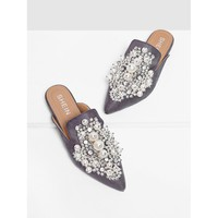 Grey Faux Pearl Decorated Flat Mules