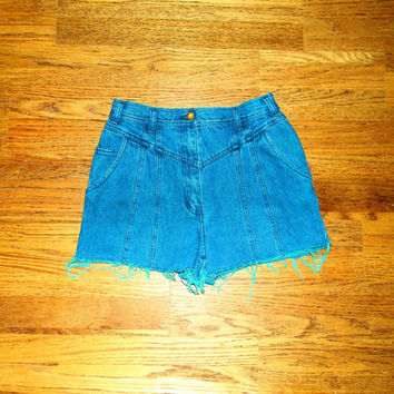 Vintage Denim Cut Offs - Vintage 80s/90s TEAL Stone Washed Blue Jean SHORT Shorts - High Waisted/Frayed/Distressed SHORT Shorts  - Size 5/6