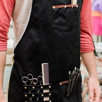 Barber Apron - Waterproof Canvas and Genuine Leather Straps