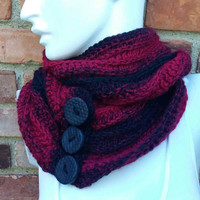 Beautiful red scarf, Red button scarf, Red and black scarf, Red winter scarf, Button infinity scarf, Black cowl scarf, Button circle scarf