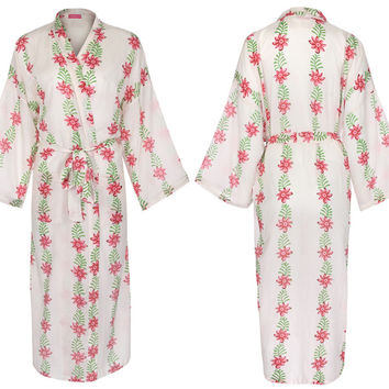 "KIMONO STYLE Ladies Dressing Gown / Blossom and Leaf / Lightweight 100% cotton, Traditional Hand-Crafted Printing w/Natural Dyes (Single Size: 51"" length). …"