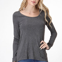 Dolman Long Sleeve Drop Shoulder Top - Dark Grey