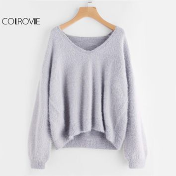 COLROVIE Grey Fuzzy Basic Sweater Puff Sleeve Women Pullover Fall 2017 Fashion V Neck Solid Jumper Loose Casual Brief Sweater