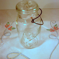 Ball Canning Jar Pre 1962 Glass Lid with Clip - Antique Mason Quart Jar - Retro Kitchen, Rustic Farmhouse, Country Decor