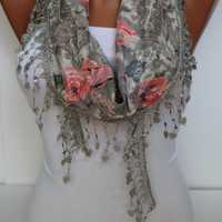 Floral Shawl/ Scarf  Grey and Red Roses Headband - Cowl with Trim Edge- Summer Trends