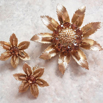 Lisner Floral Brooch Earrings Amber Rhinestones Gold Tone Clip On Vintage V0328