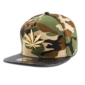 Trendy Winter Jacket  Men Women Cotton Golden Hemp Leaf Snapback Hats Gorras Golf  Camouflage Baseball Caps Sports hip hop hat Gifts AT_92_12