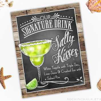 signature drink sign personalized print for weddingrehears