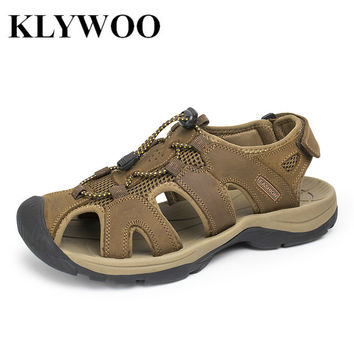 Plus Size 38-47  Men Sandals Genuine Leather Fashion Summer Shoes Men Slippers Breathable  Men's Sandals Causal Shoes Leather