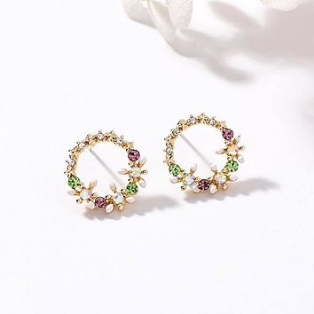 MENGJIQIAO Korean New Colorful Rhinestone Wreath Stud Earrings For Women Sweet Flower Shell Small Cirlce Brincos Gift