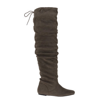 Longbay Taupe By Soda, Over Knee flat flexible slouchy faux suede boots w back lace tie