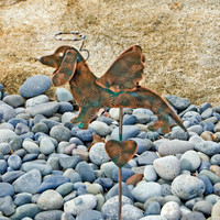 Dachshund Angel Dog Garden Stake / Pet Memorial / Pet Grave Marker / Metal Yard Art / Garden Copper Art / Wiener Dog / Dachshund Sculpture