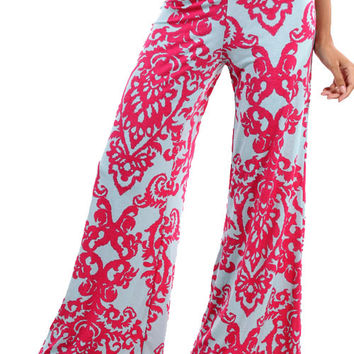 Damask Palazzo Pants - Mint and Fuchsia