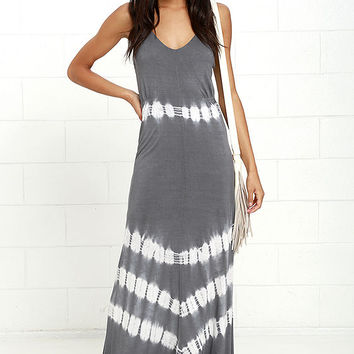 Olive & Oak Misty Morning Dark Grey Tie-Dye Maxi Dress
