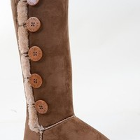 Furry Button Knee High Flat Durable Stitched Boot Vegan Suede Brown