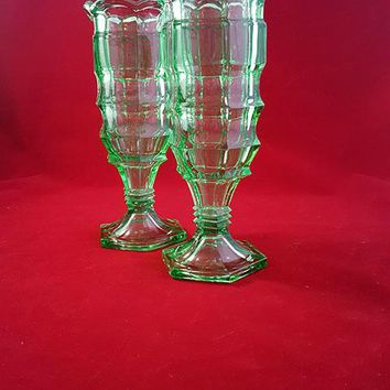 Lime Green Pressed Glass Vases S/2