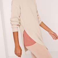 Missguided - Side Split Crew Neck Jumper Camel