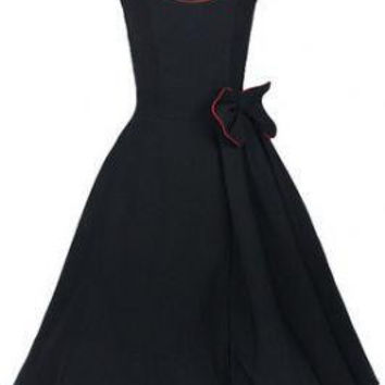 Sleeveless Bow-Style Vintage Dress