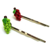 Green Grapes Red Grapes Back to School Bobby Pin Hair Kawaii Pair of Two (2)
